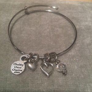 Chubby Chico Charms Heart Charm Bangle Bracelet